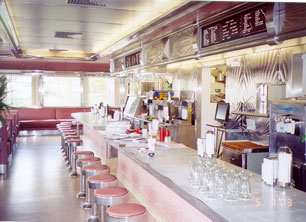 The sparkling clean and shiny interior of the newly restored Springfield Royal Diner, Springfield, Vermont