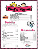 Kids Menu - Springfield Royal Diner Menu
